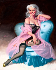 Seated Pin-Up in Black Lingerie, 1995 by Donald Rust (gameraboy) Tags: donaldrust pinup pinupart illustration art vintage woman sexy seatedpinupinblacklingerie 1995 1990s lingerie boobs stockings thighhighs nylons