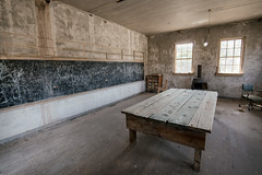 When They Said Back To School, They Weren't Kidding (pmkelly) Tags: abandoned arizona chalk chalkboard classroom ghosttown ruby school table