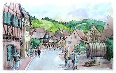 Mittelbergheim - Alsace - France (guymoll) Tags: googleearthstreetview sketch croquis alsace france aquarelle watercolour watercolor aguarela colombage village vignes vignoble vin mittelbergheim