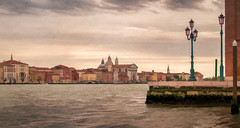 Gray Giudecca - Textured (byron bauer) Tags: byronbauer venice italy canal water sea rain clouds cityscape landscape color reflection painterly texture building church morning wall quay pier harbor passage lagoon elitegalleryaoi bestcapturesaoi