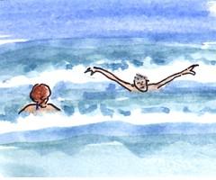 Terschelling (h e r m a n) Tags: herman illustratie tekening drawing illustration dagboek diary journal mijnleven mylife zee sea summer zomer zwemmen swimming water verkoeling golven waves terschelling midslandaanzee self