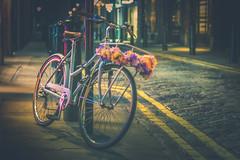 time to go home (gian_tg1) Tags: bike flora 7dwf streetcorner latenight flowersonherbike artificialflowers garland