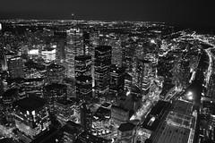 Toronto City Lights (Greg's Southern Ontario (catching Up Slowly)) Tags: brightlights citylights monochrome blackandwhitephotography toronto skylineatnight torontoskyline skyscrapers officebuildings financialdistricttoronto illumination blackandwhitetoronto nightphotography torontoatnight