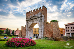 Arch of Augustus in Rimini (PeterFineart) Tags: arch augustus rimini italy italia italiano monument landscape city citycenter cityscape europe explore history roman old sky skyporn clouds entry nikon