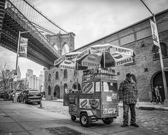 Dumbo (writing with light 2422 (Not Pro)) Tags: dumbo sabrett nyc newyork bw monochrome blackandwhite cityscape street waterstreet manhattanbridge