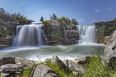 Lundbreck Falls (Canon Queen Rocks (2,193,000 + views)) Tags: sky scenery scenic nature water waterfalls twinfalls rocks canada alberta crowsnestpass trees lundbreckfalls landscape landscapes river