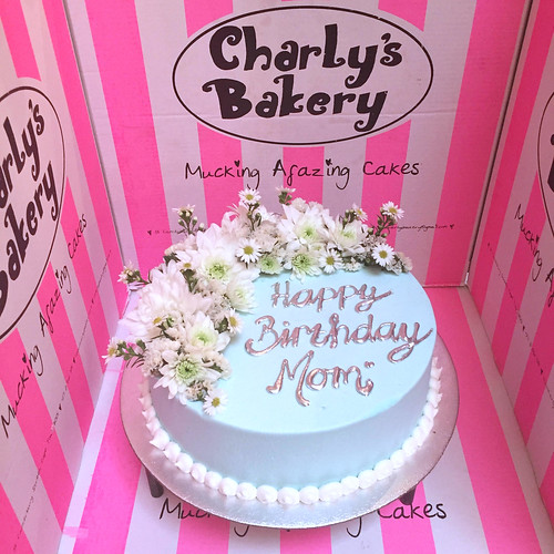 Flickriver charlys bakerys photos tagged with flowers wicked chocolate cake iced in pastel blue butter icing decorated with piped silver message and mightylinksfo