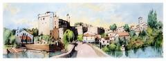 Clisson - Pays de Loire - France (guymoll) Tags: clisson loire paysdeloire googleearthstreetview aqiarelle watercolour watercolor aguarela croquis sketch panoramique panoramic pont ville chateau rivière