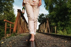 Bud on the tracks (Parchman Kid (Jerry)) Tags: summer weekend railroad tracks walking balancing rust feet toes barefooted color pink trees budvar budweiser parchmankid sony a6500 sonyflickraward