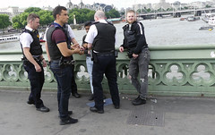 Cups and Ball Scam on Westminster Bridge (My Best Images) Tags: england london scam ball cup handcuffs police cheating bulletproof vest