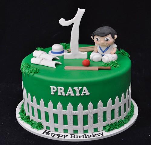 Cricket Themed 1st Birthday Cake