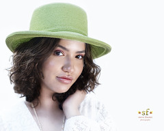 The Girl in the Green Hat (SteveFrazierPhotography.com) Tags: stevefrazierphotographymodel modeling chrissy beautiful stevefrazierphotography 2018 summer outdoor outside naturallight woman younglady photographer long curly hair pose posing white dress hat green whitebackground macomb illinois pretty cute gorgeous young lady girl