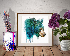 Bear Head (marianv2014) Tags: bear bears head heads watercolor aquarelle wallart watercolorpainting watercolorportrait sideface profile wildlife wild large mammals fury animalart animalposter animaldecor watercolorposter roomdecor turquoise blue green brown drippingpaint splashes splatters squareformat modernart modernwall moderndecor omnivores preyanimals forestlife artgifts affordableart creatures illustration artwork art beautiful whitebackground contemporary zoology single decor