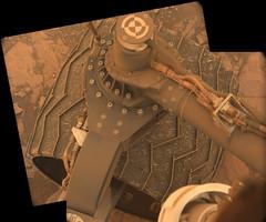 Apparently Undamaged Wheel (sjrankin) Tags: 20july2018 edited nasa mars msl curiosity galecrater panorama wheel undercarriage rocks sand