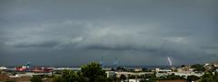 Arcus ? (Lolo_) Tags: lightning storm éclair arcus cloud nuage orage thunderstorm ville marseille panorama cranes grues port harbor boats bateaux cargos sea mer méditerranée