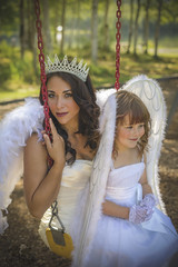 Angels on a Swing (Luv Duck - Thanks for 13M Views!) Tags: select leticia angel angels angelwings swingset crown beautifulgirls motheranddaughter alaskansummer modeling models angelic mirrorlake
