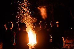 Family Fire (mwisniewski91) Tags: red sparks fire night lake lakeside nature forest family black campfire hair silhouettes silhouette people group d810 50mm nikkor fixed focal length