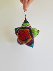 Key Chain Star Knitted in Rainbow Yarn Wool (brandacrafts) Tags: star branda knits rainbow pillow