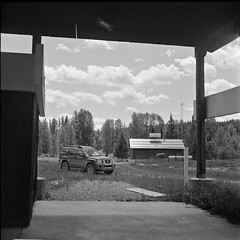 decommissioned Flathead valley border crossing (andy curtis) Tags: film 120mm 120 6x6 ilfordfp4 fp4 yashicamat vintagecamera twinlensreflex tlr rodinal bordercrossing blackandwhite bw monochrome mediumformat