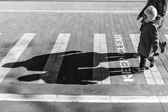 Keeping it Clear (SemiXposed) Tags: black white melbourne child shadow mother cbd australia outdoors winter road steps feed sony