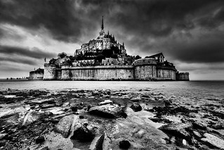 Mont Saint-Michel Black and White