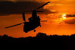 Boeing CH-47D Chinook D-667 (Wout Goossens Photography) Tags: aviation military helicopter chopper air force netherlands august golden hour photography sun training flying area sky orange silloute light nature