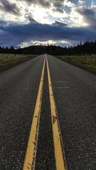 The Path (Faiz (Faizan)) Tags: path road cloud sky blue gray yellow lines cement evening nature
