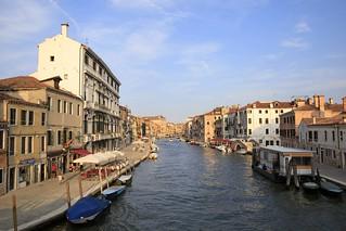 The beautiful Canale di Cannaregio in Venice, Italy, as seen from Ponte dei Tre Archi.