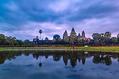 Angkor Wat Temple (Wolfhowl) Tags: 2018 palms landscape asia buddhist reflection water hdr sunrise angkorwat explore shrine pond trees summer dawn angkor ruins travel sky siemreap august architecture medieval cambodia tourism temple dramatic jayatataka