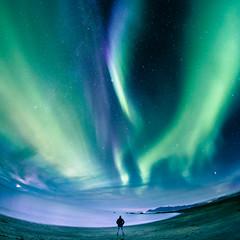 Alone in Iceland (Zeeyolq Photography) Tags: night beach auroraborealis stars sky islande sea iceland northernlights