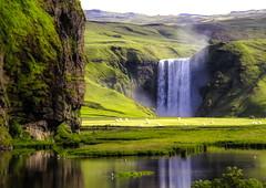 From Iceland. (Tóta. 27.12.1964.) Tags: landscape waterfall mountain water grass skógarfoss iceland ísland