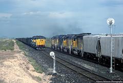 A Meet at Van (jamesbelmont) Tags: unionpacific railway emd sd60m sd402 van siding delta utah lynndylsub coal manifest freight meet