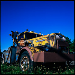 Aging Tow Truck (Dalliance with Light (Andy Farmer)) Tags: dilapidated hasselbladzeiss50mmcf classic provia100f age towtruck truck wrecker rust vintage hasselblad500cm slidefilm film antique cranburytownship newjersey unitedstates us