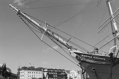 Rickmer Rickmers (Fotofabrik Itzehoe) Tags: rickmer rickmers schiff museumsschiff ship segler sailing vessel hamburg hafen landungsbrücken blackandwhite schwarzweis fomapan 35mmnegative scan