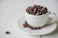 Simply Coffee.... (Janet_Broughton) Tags: lensbaby velvet56 coffee coffeebeans cupsaucer stilllife bright white