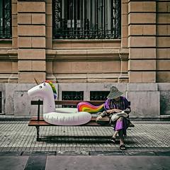 ... La dama y el unicornio ... (Lanpernas .) Tags: donostia candid street robado sansebastián cuento unicornio verano summer 2018 flotador leyendo banco callejeando cameraphone