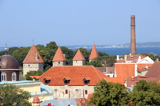 Pipe, roofs and towers of old town, Tallinn, Estonia