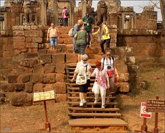 Angkor, Eastern Mebon Stairs 20180203_100141 DSCN2597 (CanadaGood) Tags: asia seasia asean cambodia siemreap angkor eastmebon temple people person sign stairs building architecture archaeology canadagood 2018 thisdecade color colour hindu khmer