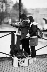 Double autoportrait (laurent.dufour.paris) Tags: 135mm 2018 24x36 3x2 autoportrait bw candid canon darkisbetter eos5dmarkiii europe everybodystreet femmes france hiver lovesnoir monochrome noiretblanc noirshots paris pontsdesarts portrait regardsparisiens streetphotography winter