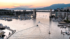 Burrard Street Bridge (Sworldguy) Tags: burrardstreetbridge sunset boats marina docks outdoors landscape mountains northshore vancouver englishbay summer sonya73 wideangle bc canada britishcolumbia tourism