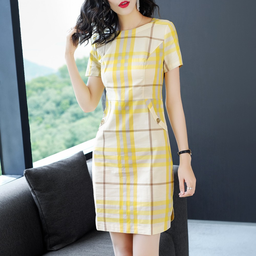 Long Yuan Shang 2018 summer new temperament, lattice stripes one step skirt OL split fork, hip dress, female 1039