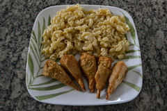 Drumsticks and Mac & Cheese (Vegan) (Vegan Butterfly) Tags: vegetarian vegan food yummy tasty delicious meal supper dinner plate macaroni cheese pasta nondairy cheddar melted drumsticks meatless chicken chickn