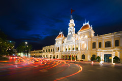 Ho chi minh city hall at dusk, Vietnam (Patrick Foto ;)) Tags: architecture asia asian building chi city cityhall cityscape classic colonial committee culture dusk famous flag french government hall historic ho indochina journey landmark landscape light minh modern monument night office old people peoples retro saigon square street structure tourism tourist tower town traffic travel twilight urban vietnam vietnamese view vintage hochiminhcity hồchíminh vn