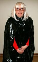 My Plastic Cape feels so much better buttoned. (Miss Pakamac) Tags: plasticmac plasticraincoat plasticrainwear pakamac maturewoman plastic raincoat rainwear rainmac
