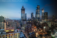 Day to Night Time Lapse (20180715-DSC01695-Edit-5) (Michael.Lee.Pics.NYC) Tags: newyork daytonight timelapse aerial hotelview doubletreetimessquarewest manhattanwest hudsonyards composite farwestside wtc worldtradecenter hudsonriver jerseycity architecture cityscape skyline twilight bluehour sony a7rm2 zeissloxia21mmf28