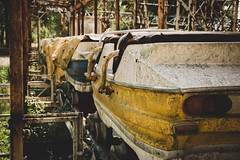 Abandoned Roller coaster (emilianopioltelli) Tags: vintage past fun lost childhood game yellow iron wheel urbex street abandoned roller coaster park