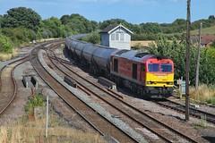 Around the Back (JohnGreyTurner) Tags: br rail uk railway train transport diesel engine locomotive barnetby lincs lincolnshire station ews db dbs dbc freight tanks 60 class60 tug brush type5