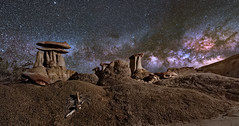 Hoodoos and Bones (Wayne Pinkston) Tags: bonuseskeleton desert hoodoos adsieslepat badlands newmexico hoodoo night sky nightsky nightlandscape nightphotography wauynepinkston waynepinkstoncom lightcrafter lightcraftercom star stars starrynight starrysky milkyway galaxy astrophotography landscapeastrophotography widefieldastrophotography nikon wideangle