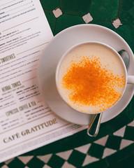 Turmeric Latte (ella.o) Tags: turmeric latte coffee cafegratitude losangeles coffeeshop menu