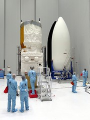 Aeolus and Vega fairing (europeanspaceagency) Tags: frenchguiana kourou earthobservation earthexplorer esa europeanspaceagency space universe cosmos spacescience science spacetechnology tech technology earthfromspace observingtheearth inthecleanroom cleanroom fuelling fairing aeolus